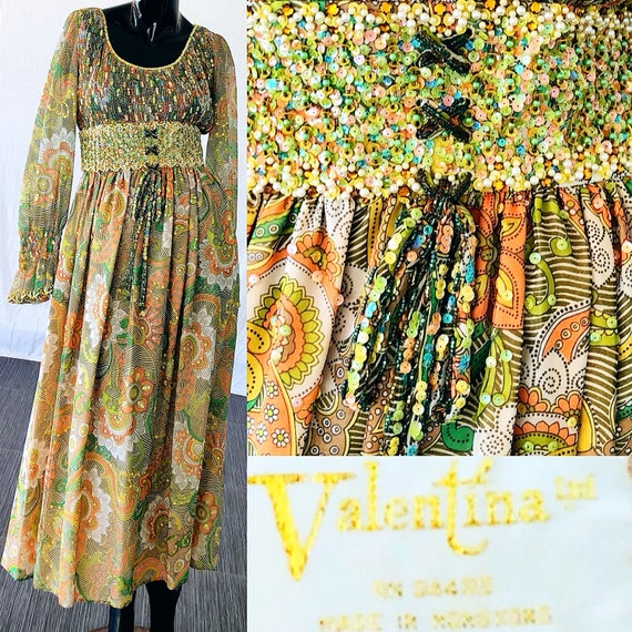 Dress Medium Ltd Fringe Mod Dress Maxi Valentina Sequin 70s Dress Beaded Psychedelic 5PqW7B4w