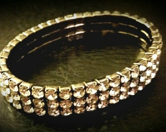 After Life Accessories Repurposed Clear Rhinestones Stretch Bracelet