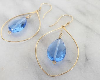 Baby Blues Cubic Zirconia drops dangle from gold-filed tear drops, gold-filled ear wires, jewelry gift under 50 dollars