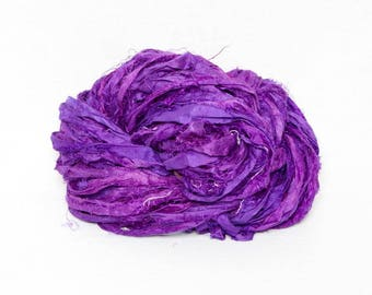 Sari Silk Kettle Dyed Gorgeous Shades of Purple