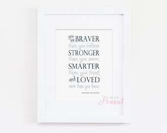 You Are Braver Than You Believe Winnie the Pooh Art Print - Art Quote, Nursery Art Print - Baby Boy Navy Nursery Decor - Instant Download