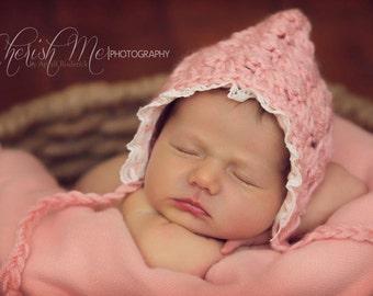 Newborn Girls Baby Bonnet Knit and Lace