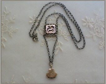 Antique Gold Filled Watch Fob Necklace - Marcasite Cut Deer Pendant - Sterling Silver  Chain - Assemblage Jewelry
