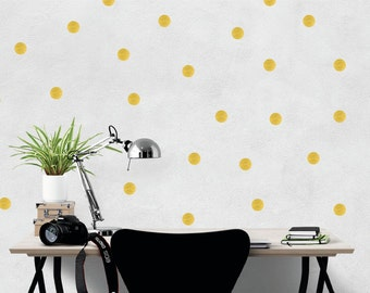 Polka dot wall stickers / confetti decal / gold dots home decor / spots office decor / Grey Yellow Black White Vinyl Sticker / wallpaper
