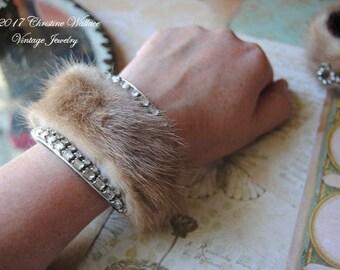 Mink Confection--Vintage Upcycled Mink Fur Trim Vintage Art Deco Rhinestone Cuff BRACELET