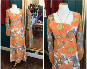"1960s Orange Floral Maxi Dress W27"" UK8 XS"