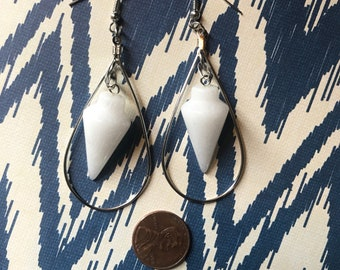 Floating Pallid Snow Cone pyramid Chakra teardrop earrings