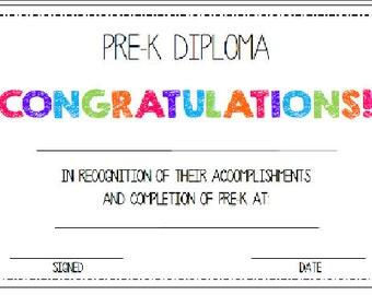printable diploma chalkboard pre k or kindergarten stars