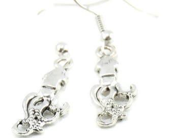 Squid Antique Silver Earrings