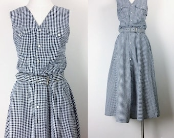 vintage gingham shirt dress/sleeveless dress/button down dress/maxi dress minimalist dress women's size M