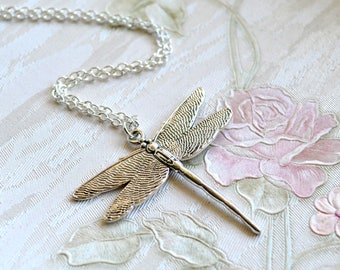 Large dragonfly necklace Silver dragonfly necklace Layered necklace Dragonfly jewelry Bohemian necklace