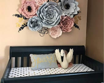 7 pc Paper Flowers, Nursery, Decor, Home Decor, customize your colors