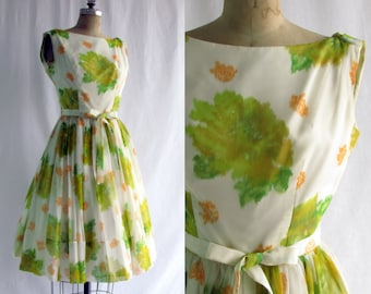 Vintage 1950s Party Dress ~ Jr Theme ~ Floral ~ Chartreuse ~ Chiffon ~ Full Skirt ~ Draped Back ~ Medium ~