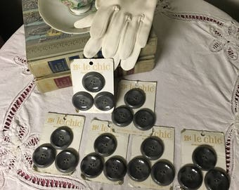 Vintage gray buttons on original card