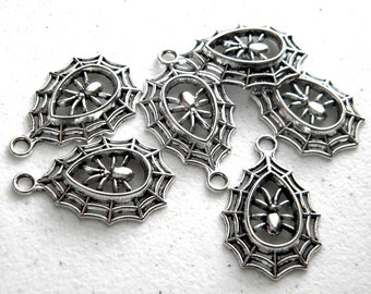 6 Silver Spider in Web Charms