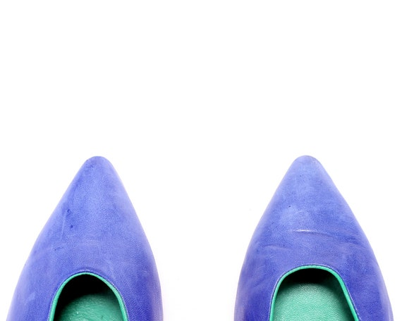 80s Heels Europe Royal Wide Women Chic Vintage Italy 39 Blue 8 6 size US UK Leather Fit Elegant Made Shoes Footwear Eur 5 in Pumps xtPqzYR
