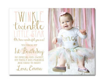 1st Birthday Thank You Card with Photo - A2 (4.25x5.5) - Twinkle Twinkle Little Star - Pink, Mint & Gold - Printable and Personalized