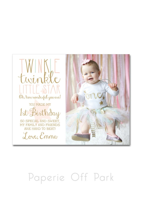 1st birthday thank you card with photo a2 425x55 like this item bookmarktalkfo Image collections