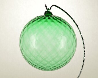 Hand Blown Glass Christmas Ornament Green with crisscross stripes