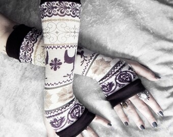 Winter Retreat Arm Warmers - Fair Isle Plum Purple Taupe Cream Sweater Knit  - Nordic Snow Flakes & Deer - Bohemian Cycling Gothic Goth Ski