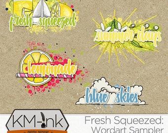 Lemonade, Summer Days, Fresh Squeezed, Blue Skies, Digital Scrapbook Elements Hand Drawn WORD ART CLUSTERS - Summer Clip Art