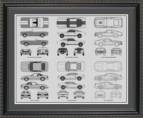 Ford mustang blueprint collection drawing art car auto gift malvernweather Choice Image