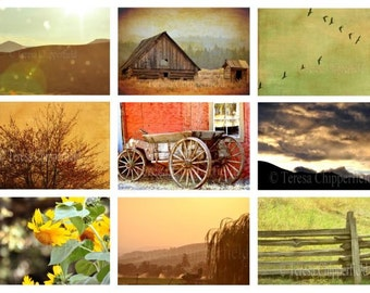 Rustic Countryside Photography, Print Set, Old Barn, Rural Sunset, Vintage Cart, Sunflowers, Rolling Hills, Farm Fence, Affordable Wall Art
