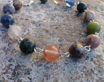 Mixed Color Genuine Gemstone Wire Link Bracelet With Lobster Clasp, Made to Order, Perfect Gift!