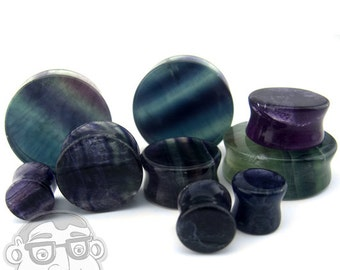 Rainbow Fluorite Stone Plugs - Double Flare (2G - 32mm) Sold In Pairs - New!
