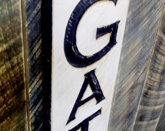"""Vertical Gather Sign - Carved in a 40""""x10"""" Cypress Board Rustic Distressed Kitchen Farmhouse Style Restaurant Cafe Wooden Wood Gift"""