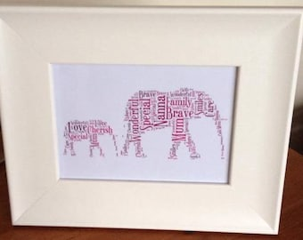 A4 Personalised Word Elephants Print (UK ONLY)/Download