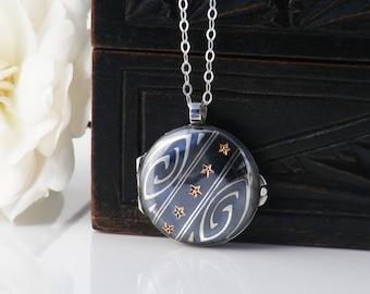 Antique Niello Locket | Indigo Niello Silver Rose Gold Stars | Victorian Locket Necklace | European Silver - 20 Inch Sterling Silver Chain
