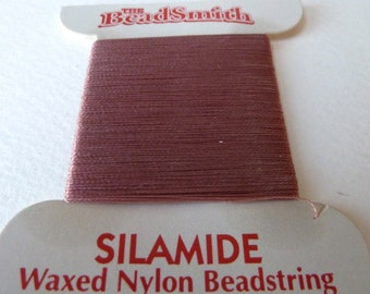 Dusty Rose Silamide Waxed Nylon Beadstring, Size A, 40 yd card, Two Ply Twisted Nylon Thread