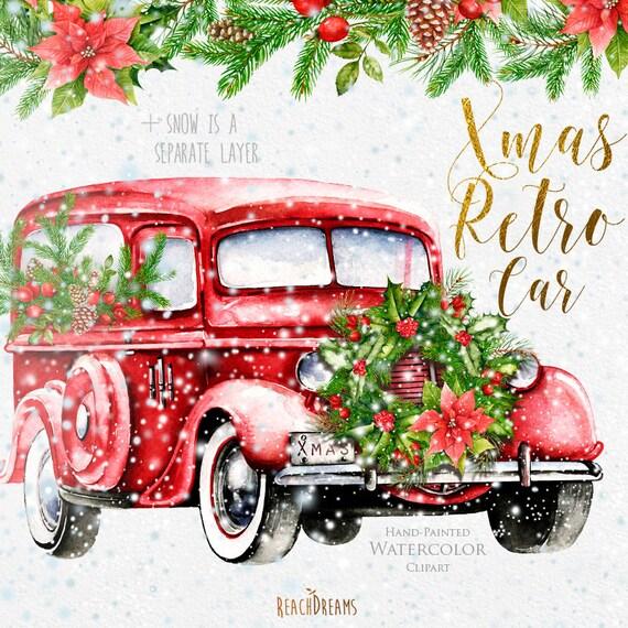 Watercolor Christmas Truck Red Retro Car Vintage Auto Xmas