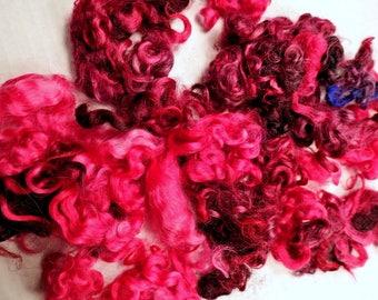 Cotswold Wool Locks Spinning Needle Felting Fuchsia Pink Mix 1.5 oz