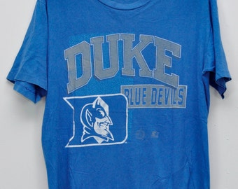Vintage Shirts Duke Blue Devils University mascot Red Medium Size