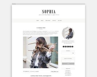 """Responsive Blogger Template """"Sophia"""" - Feminine Blogger Theme"""