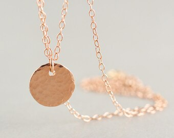 Hammered Disc Necklace, Rose Gold Disc Necklace, Pink Gold Coin Necklace