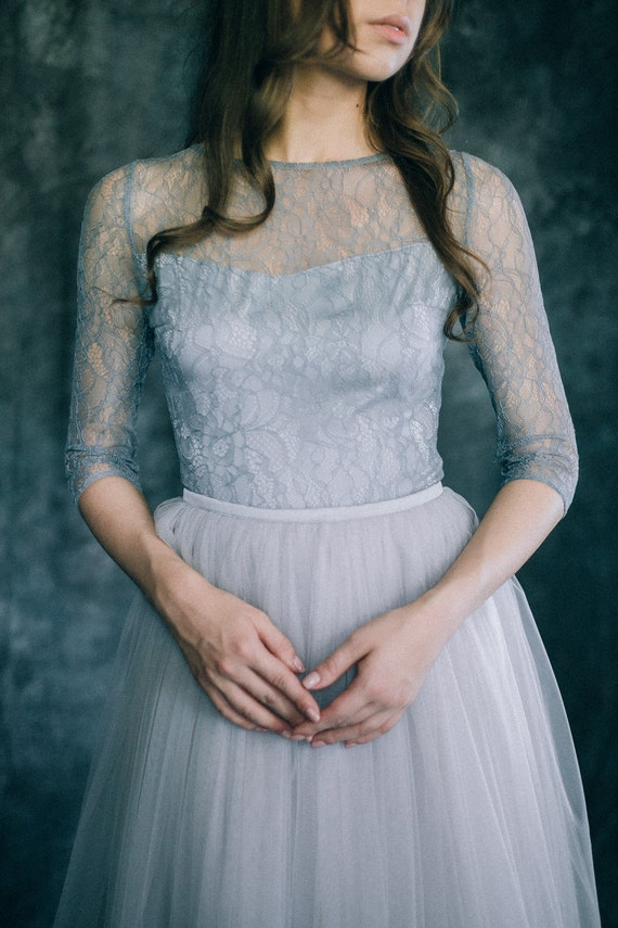 Blue-gray wedding dress Colored lace and tulle dress