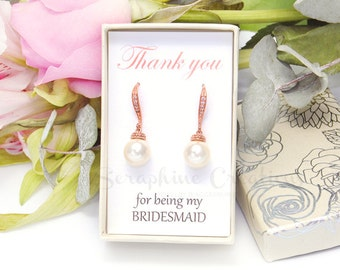 Rose Gold Bridesmaid Earrings Wedding Jewelry Pearl Earrings Wedding Earrings Bridal Earrings Swarovski Bridesmaid Gifts K041RG