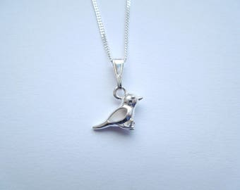 Sterling Silver 925 3D Sparrow Necklace