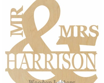 Mr and Mrs with Family Name - Mr and Mrs Sign, Mr and Mrs Decor, Mr and Mrs Wedding, Mr and Mrs Wedding Guestbook