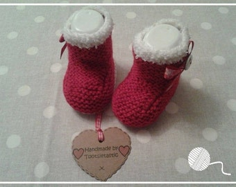 1 Pair Red Santa Hand Knitted Baby Booties - 0-3 months size only - Boy - Girl - Made by Tootsietastic - READY TO SHIP
