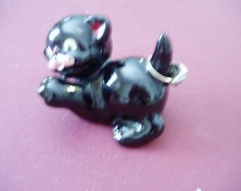 Adorable Vintage Black Cat Ring Holder