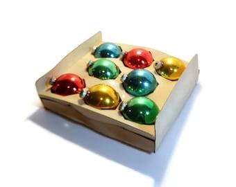 "SALE 2.5"" Shiny Brite Glass Christmas Ornament, Boxed, Multi-color, Qty 8"