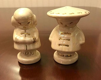 Vintage Asian Salt Pepper Shakers, Japanese Boy and Girl collectible salt and pepper set, gold leaf Lusterware Pearl Co, collectible, gift