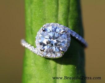 14k White gold - Diamond Engagement Ring - Halo - UNIQUE -  Thin Swirl - Pave - Weddings- Luxury- Brides - Bp0013