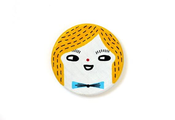 Handpainted wooden brooch - cute character, yellow hair, light blue bowtie - round, disc, circle - kawaii brooch