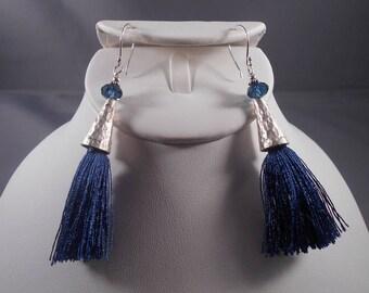 Montana Blue Crystal and Tassel Earrings