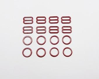4 sets, nylon coated metal, rings and sliders, bra making, burgundy color, strap adjusters, 11-12 mm, 1/2 in, colored metal, lingerie making